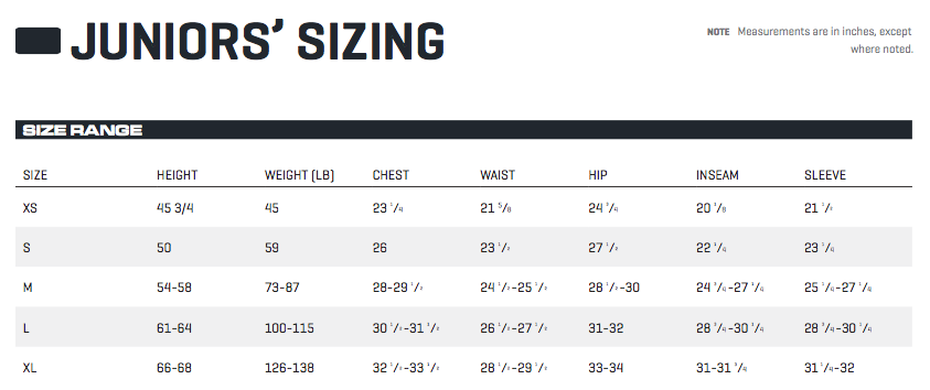 PUMA Golf Junior's Sizing Chart